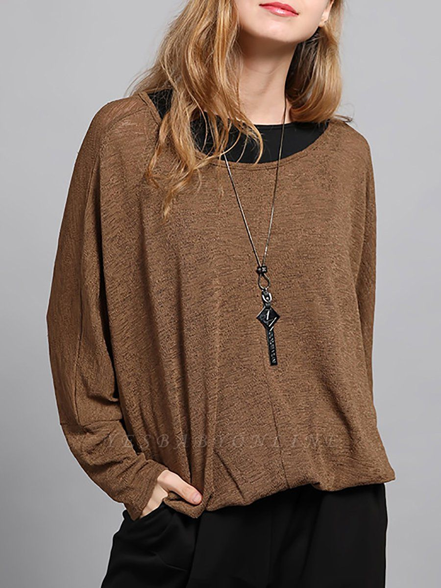 Bateau/boat neck Solid Shift Long Sleeve Casual Sweater