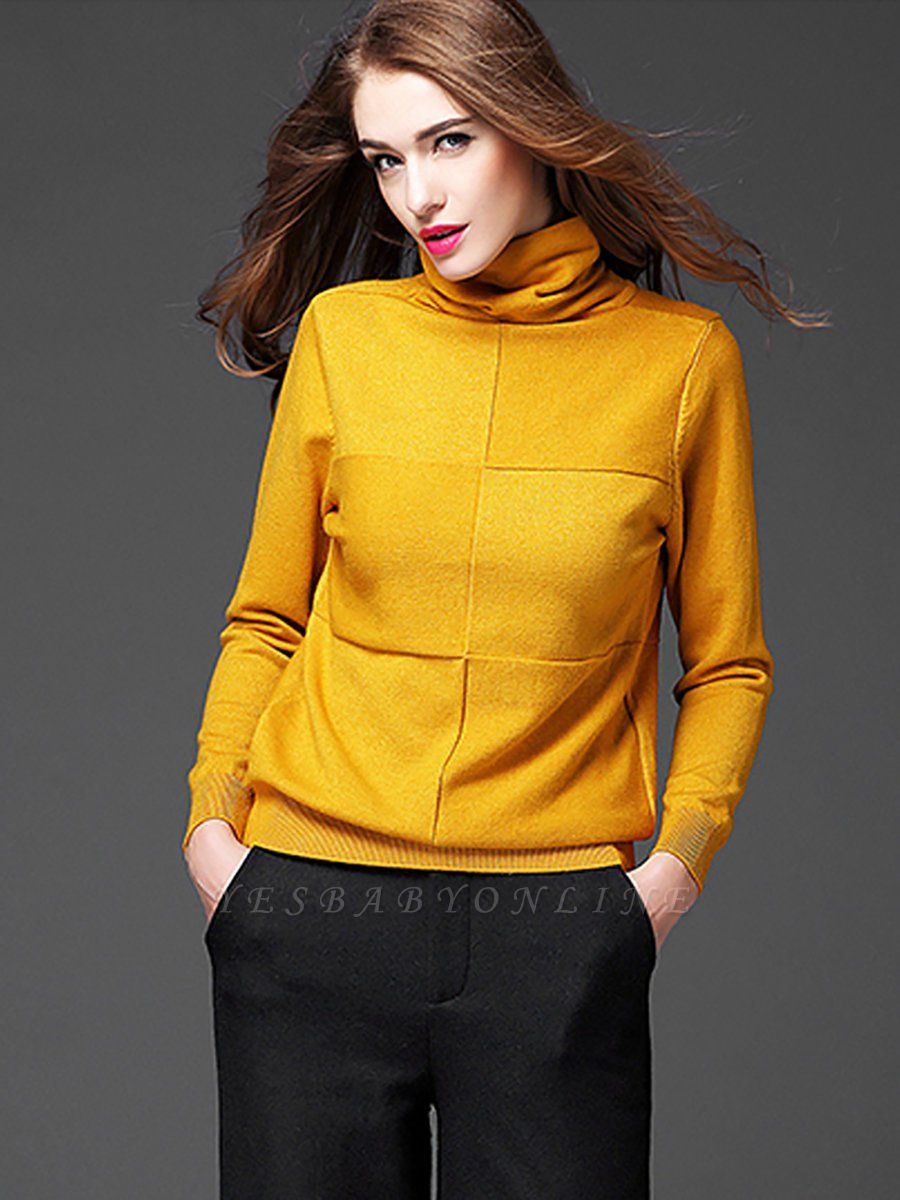 Paneled Solid Long Sleeve Casual Sweater