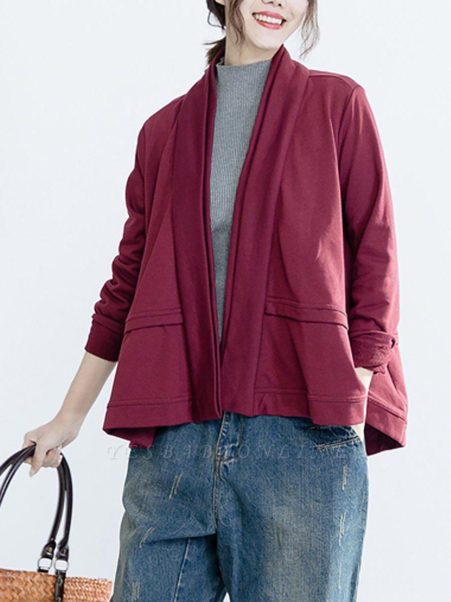 Solid Long Sleeve Casual Paneled V-Neck Coat