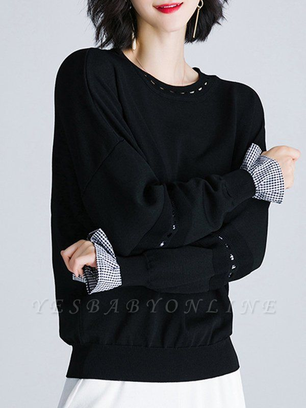 Paneled Casual H-line Knitted Sweater