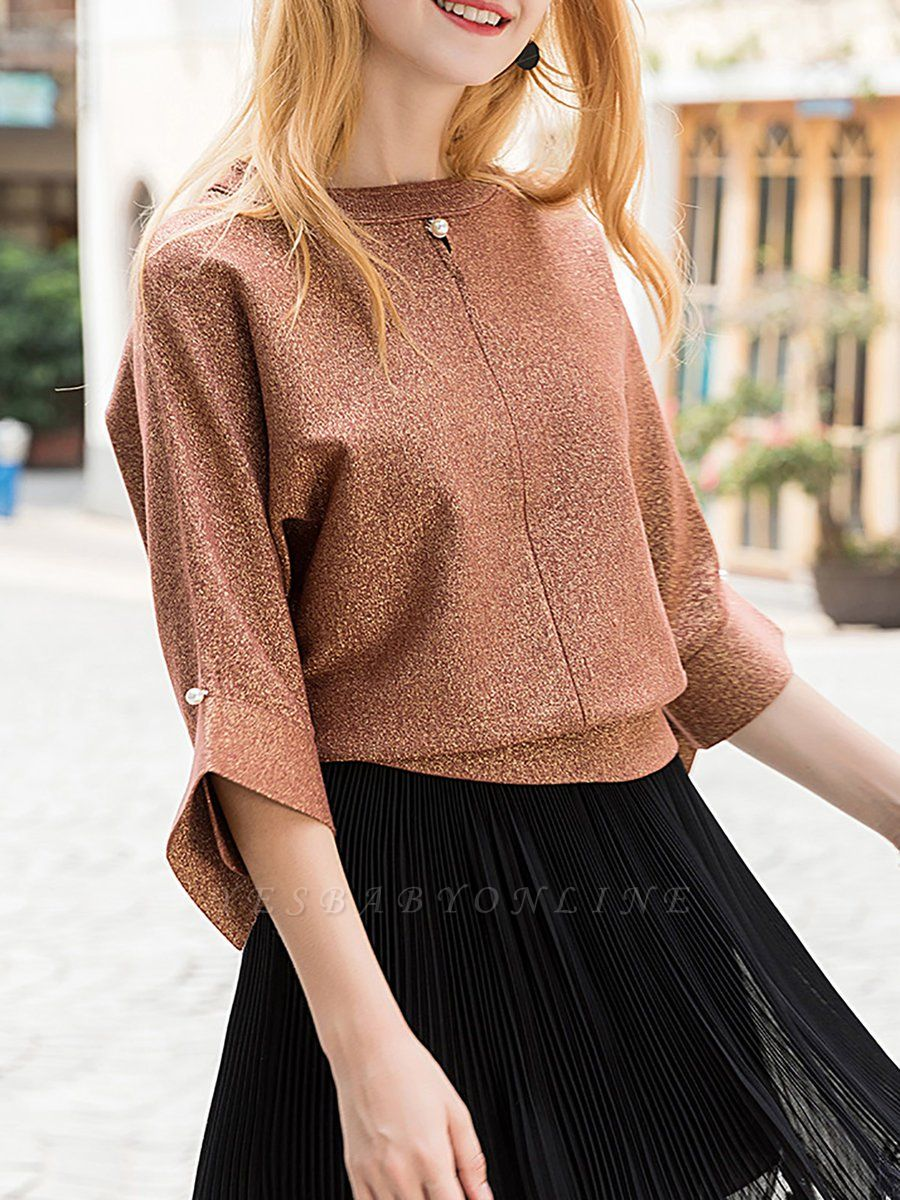 Brown Crew Neck Shift Casual Knit Top