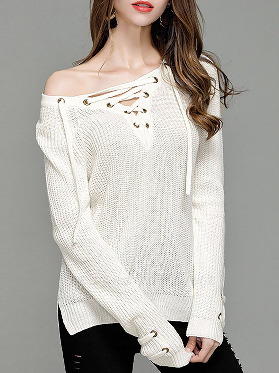Sheath Long Sleeve Solid Lace up Casual Sweater