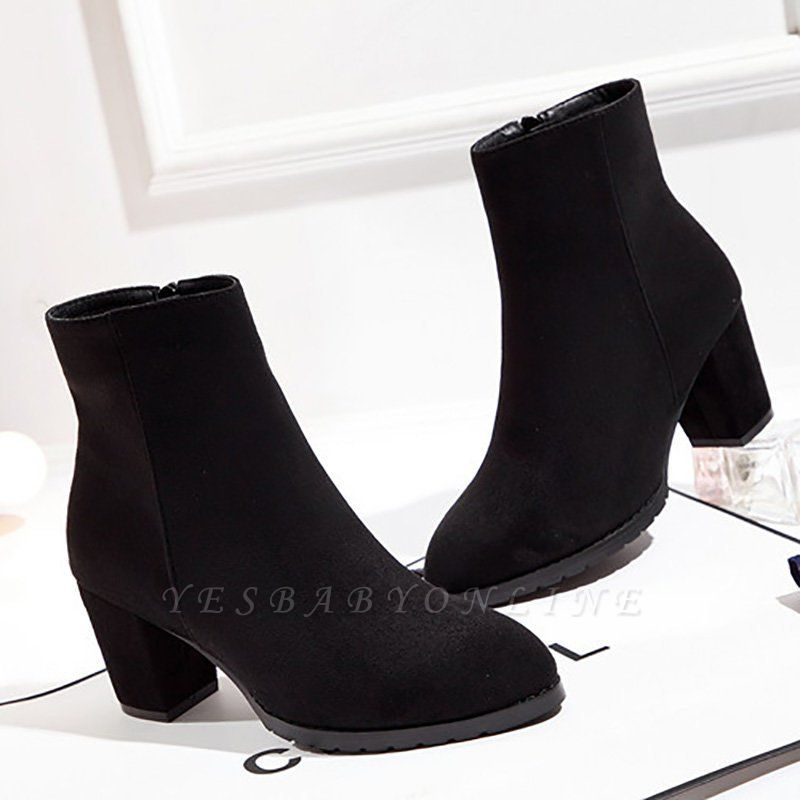 Zipper Chunky Heel Daily Pointed Toe Boots