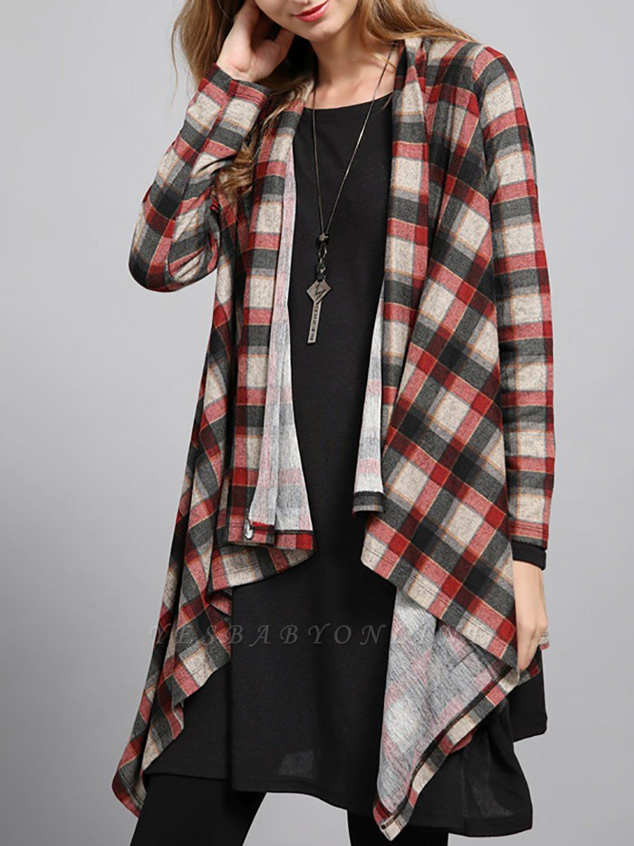Checkered/Plaid High Low Casual Long Sleeve Coat