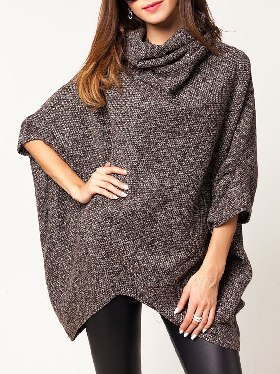 Casual Batwing Solid Sweater