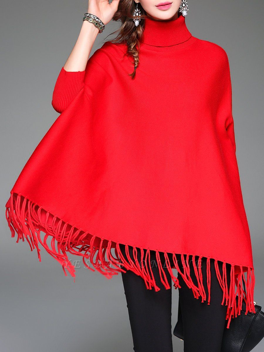 Red Plain Fringed Batwing Knitted Casual Turtleneck Sweaters