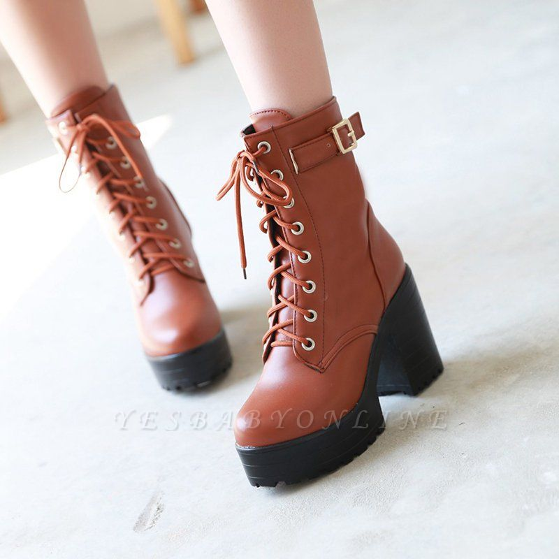 Lace-up PU Chunky Heel Round Toe Boots