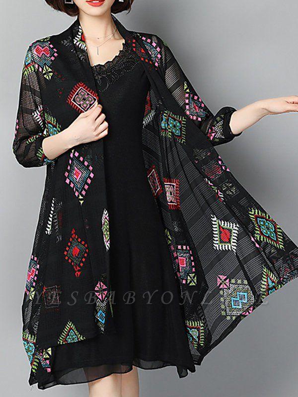 Black Casual Printed Swing Geometric Asymmetric Coat