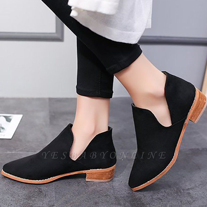 Chunky Heel Daily Pointed Toe Elegant Suede Boots