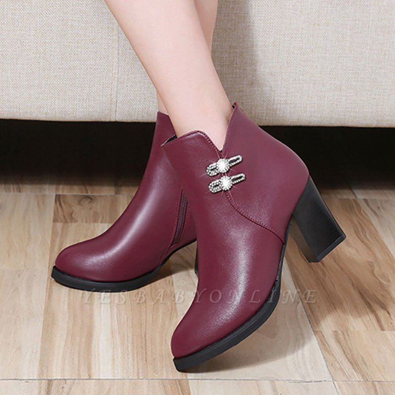 Chunky Heel Rhinestone Daily Pointed Toe Zipper Elegant Boots
