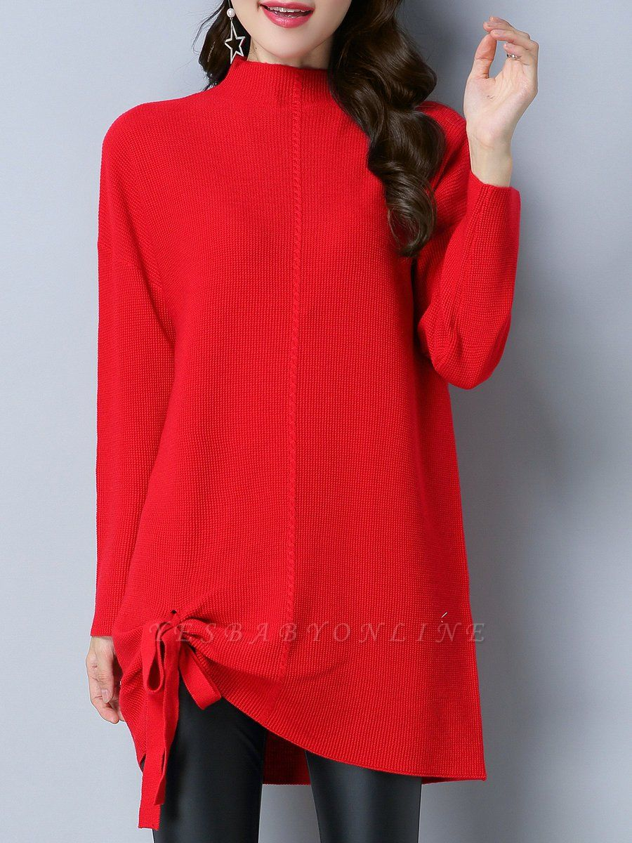 Long Sleeve Casual Stand Collar Knot Front Sweaters