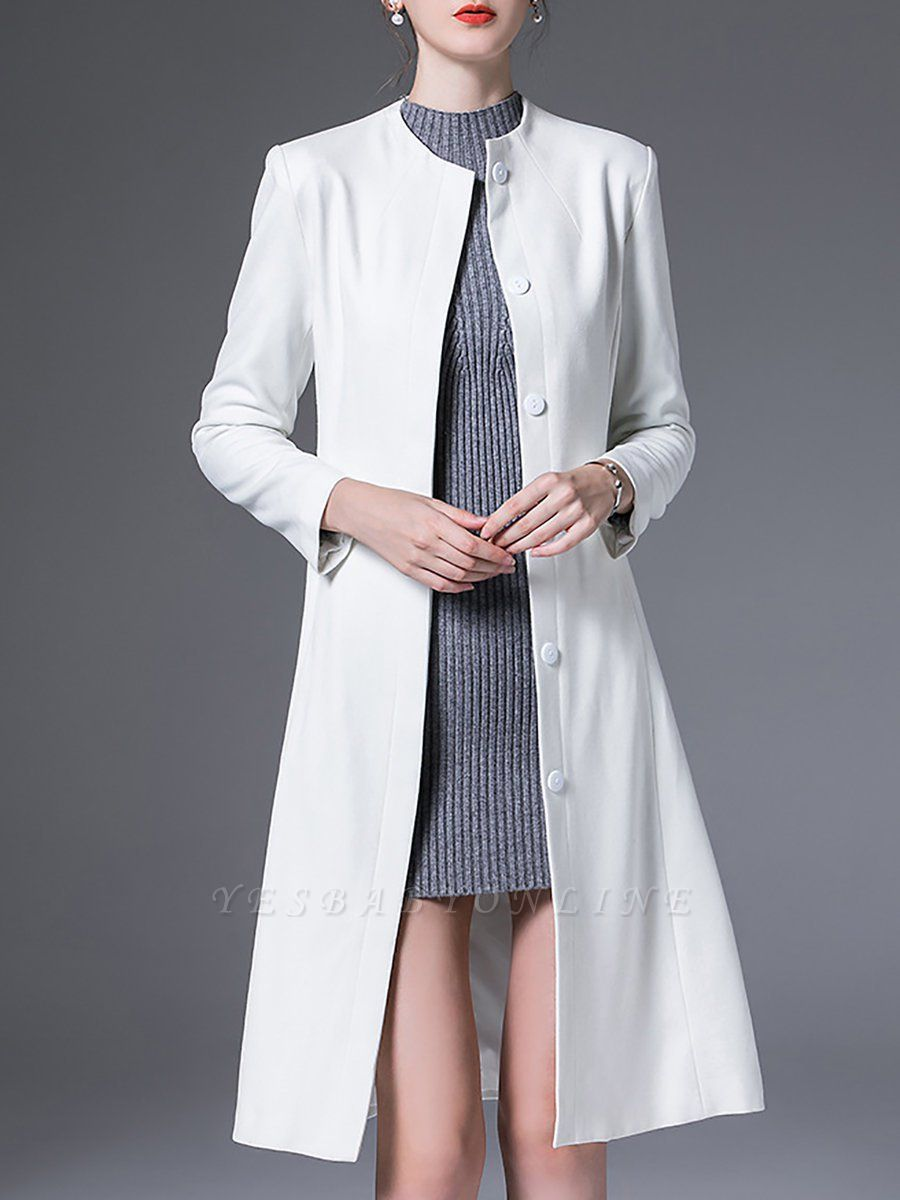 Buttoned Work Shift Solid Long Sleeve Pockets Crew Neck Coat