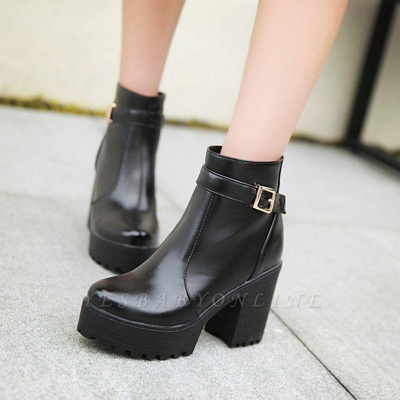 Daily PU Chunky Heel Round Toe Elegant Boots