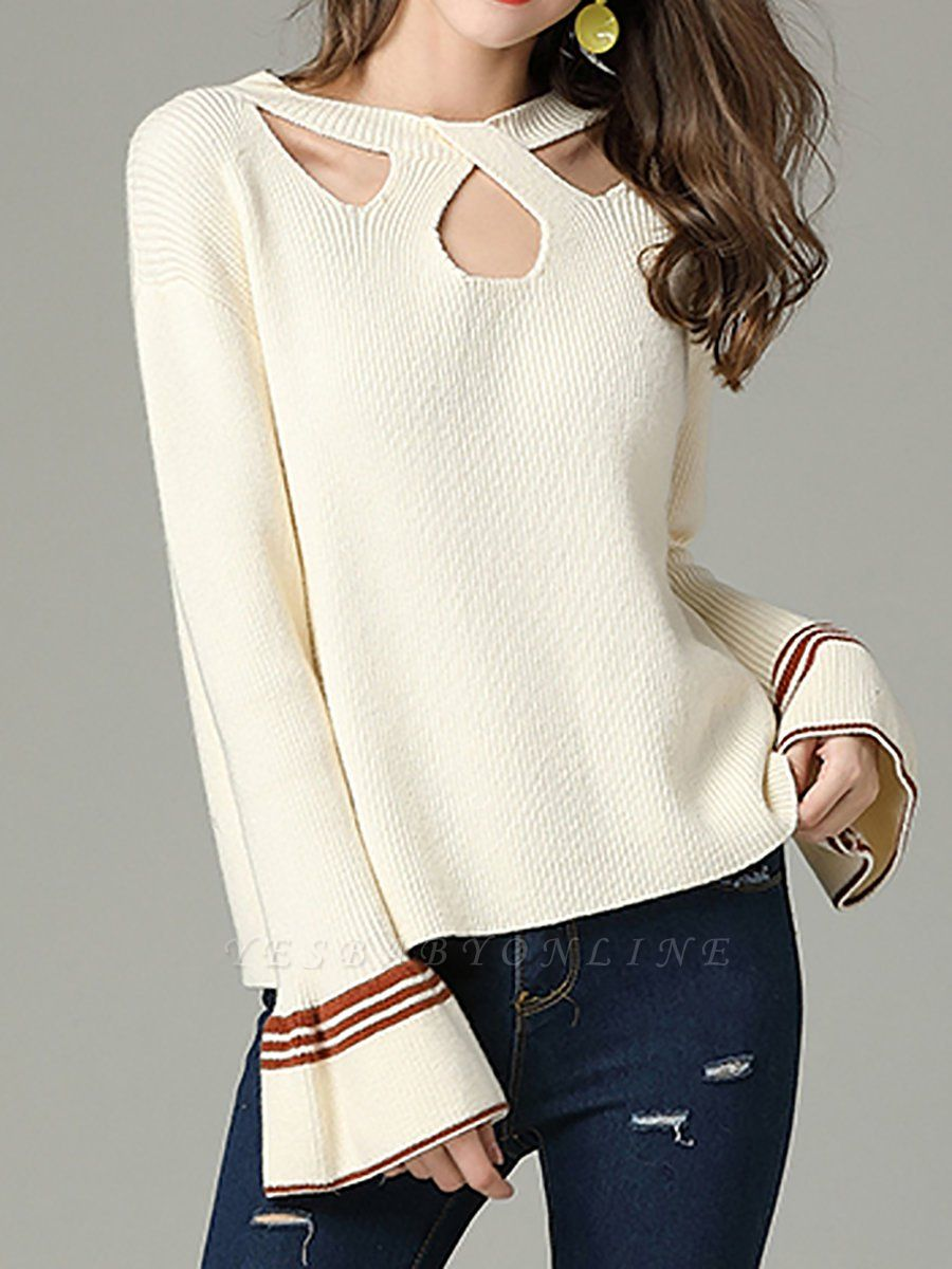 Cutout Casual Bell Sleeve Keyhole Sweater