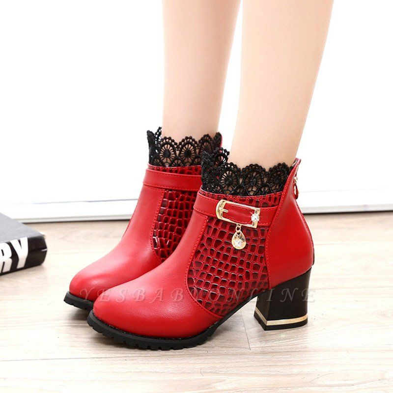 Chunky Heel Zipper Pointed Toe Buckle Boots