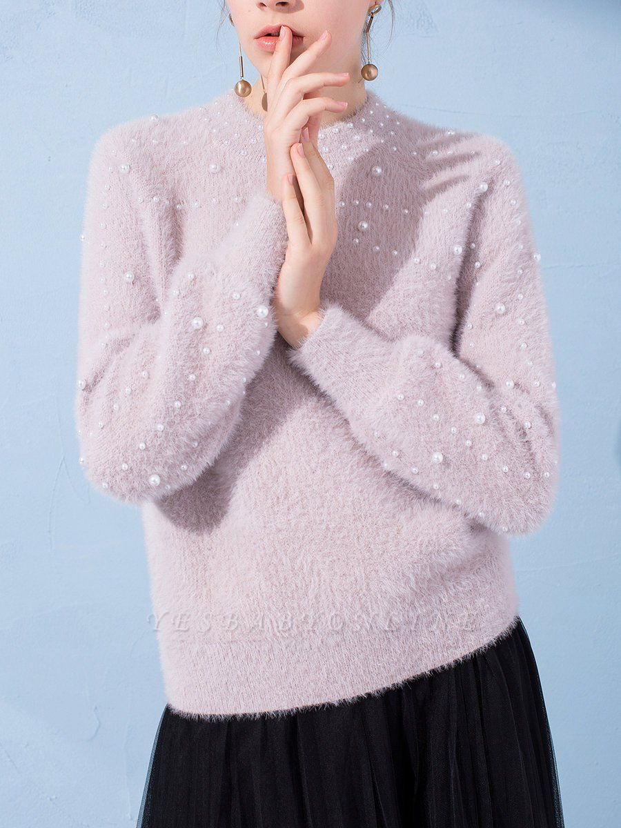 Shift Long Sleeve Solid Casual Beaded Imitation Hair Sweater