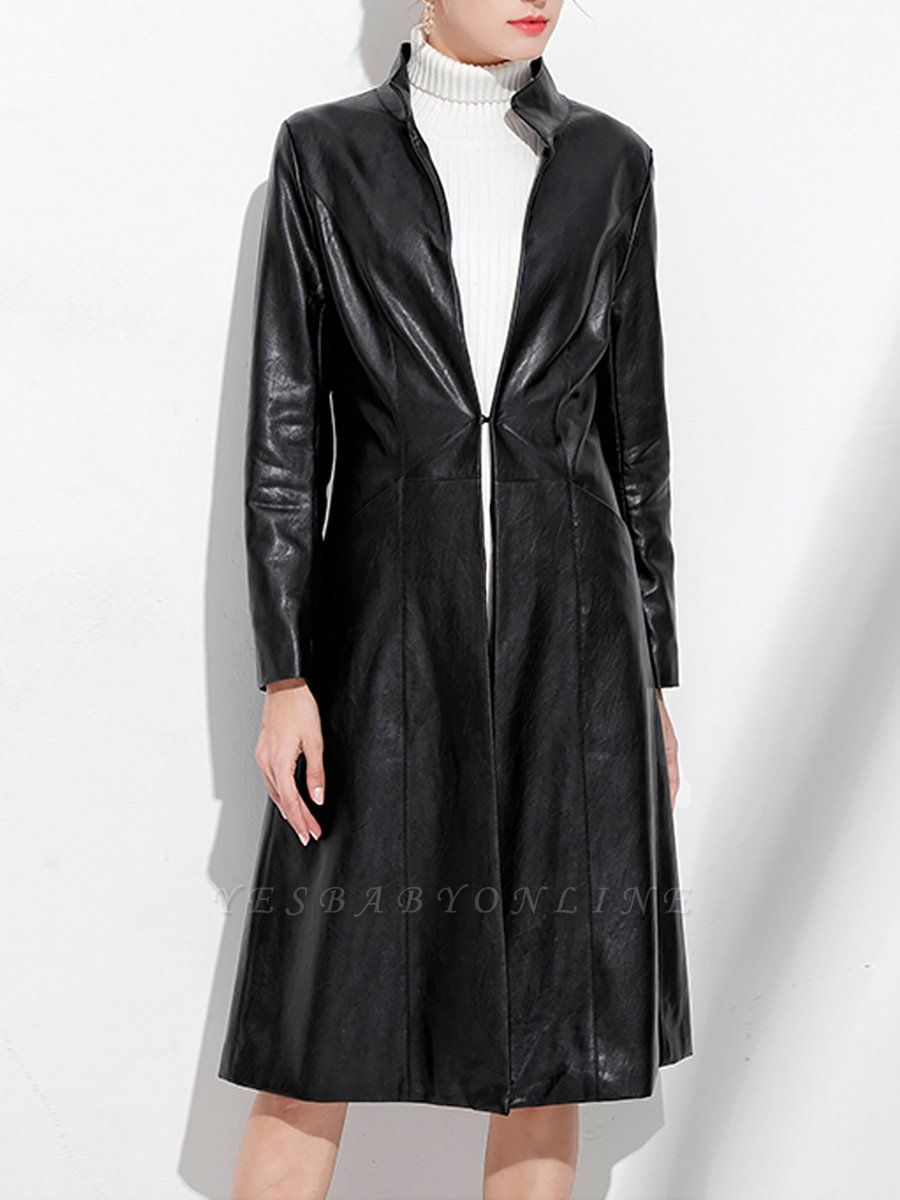 Black Long Sleeve Buttoned Casual Leather Solid Coat