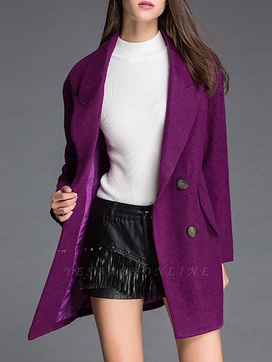 Long Sleeve Casual Solid Shift Coat