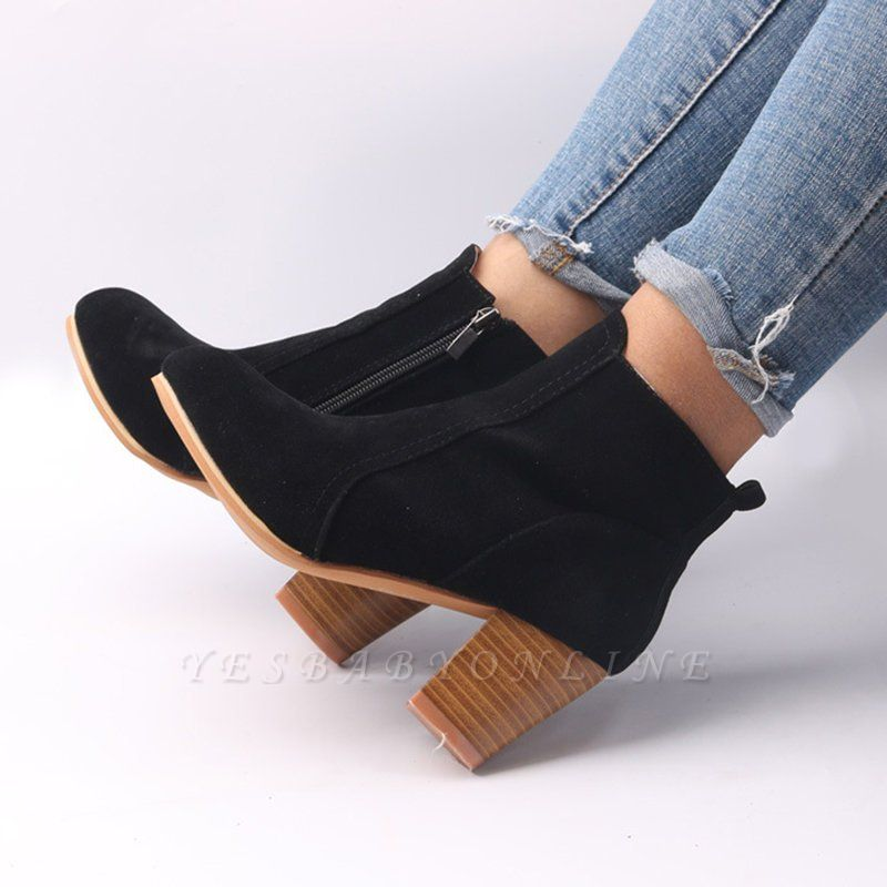 Suede Chunky Heel Zipper Daily Round Toe Boot