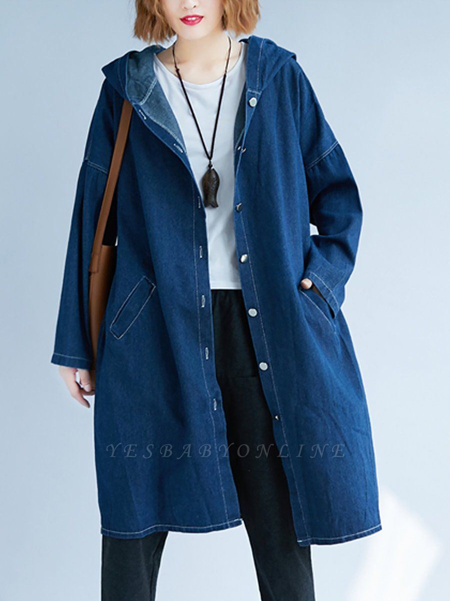 Blue Buttoned Casual Denim Solid Coat