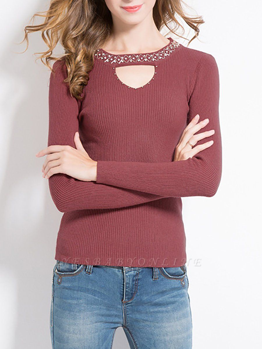 Solid Long Sleeve Casual Beaded Sweater