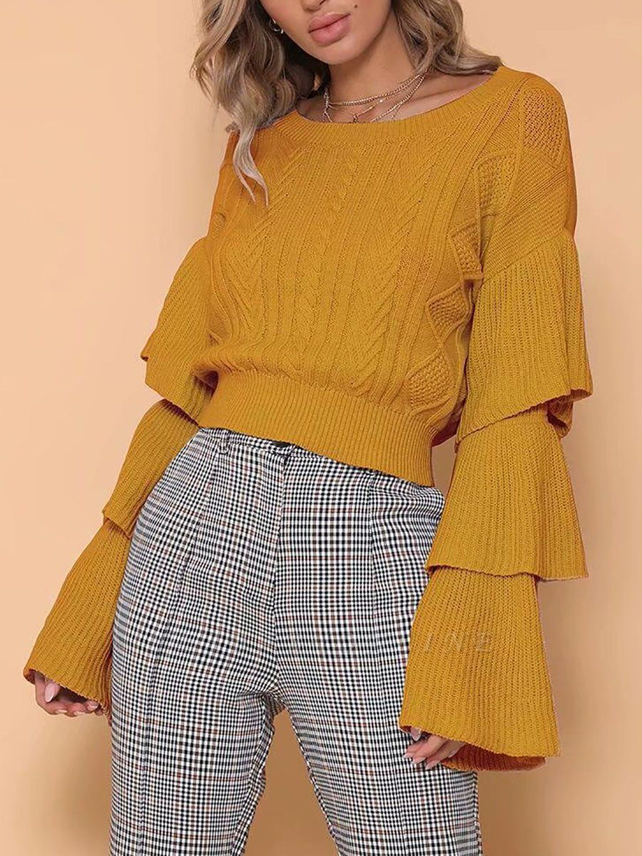 Shift Bell Sleeve Cotton Casual Sweater