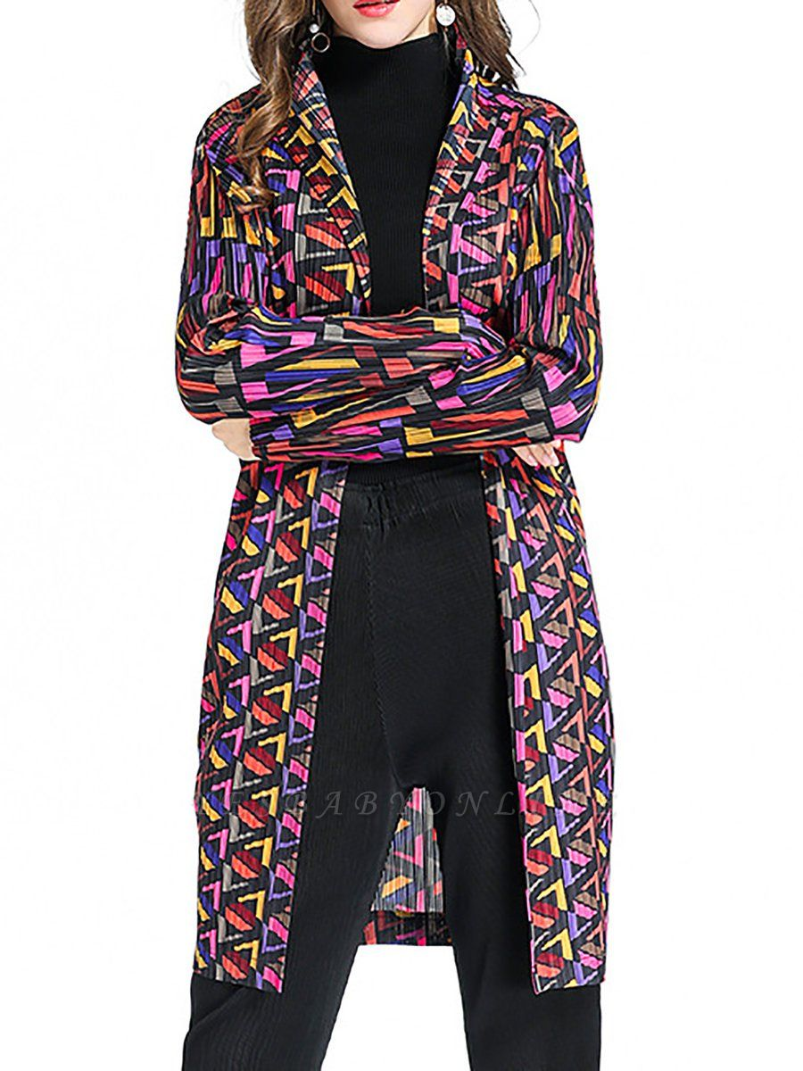 Multicolor Abstract Long Sleeve Shift Crinkled Coat