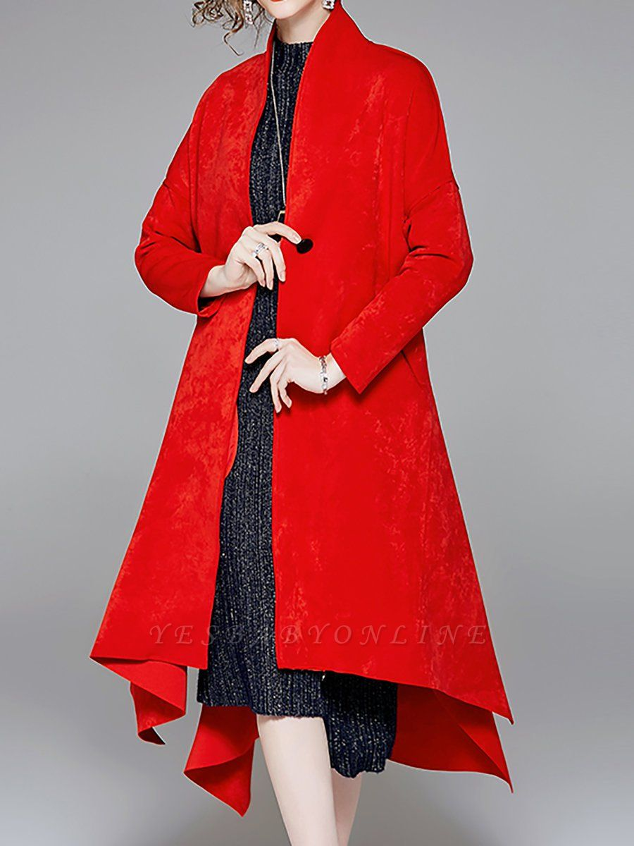 Red Buttoned Asymmetrical Long Sleeve Coat