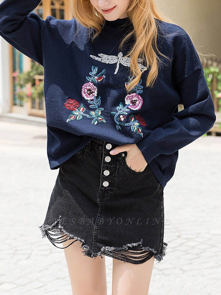 Royal blue Casual Long Sleeve Embroidered Shift Stand Collar Sweater
