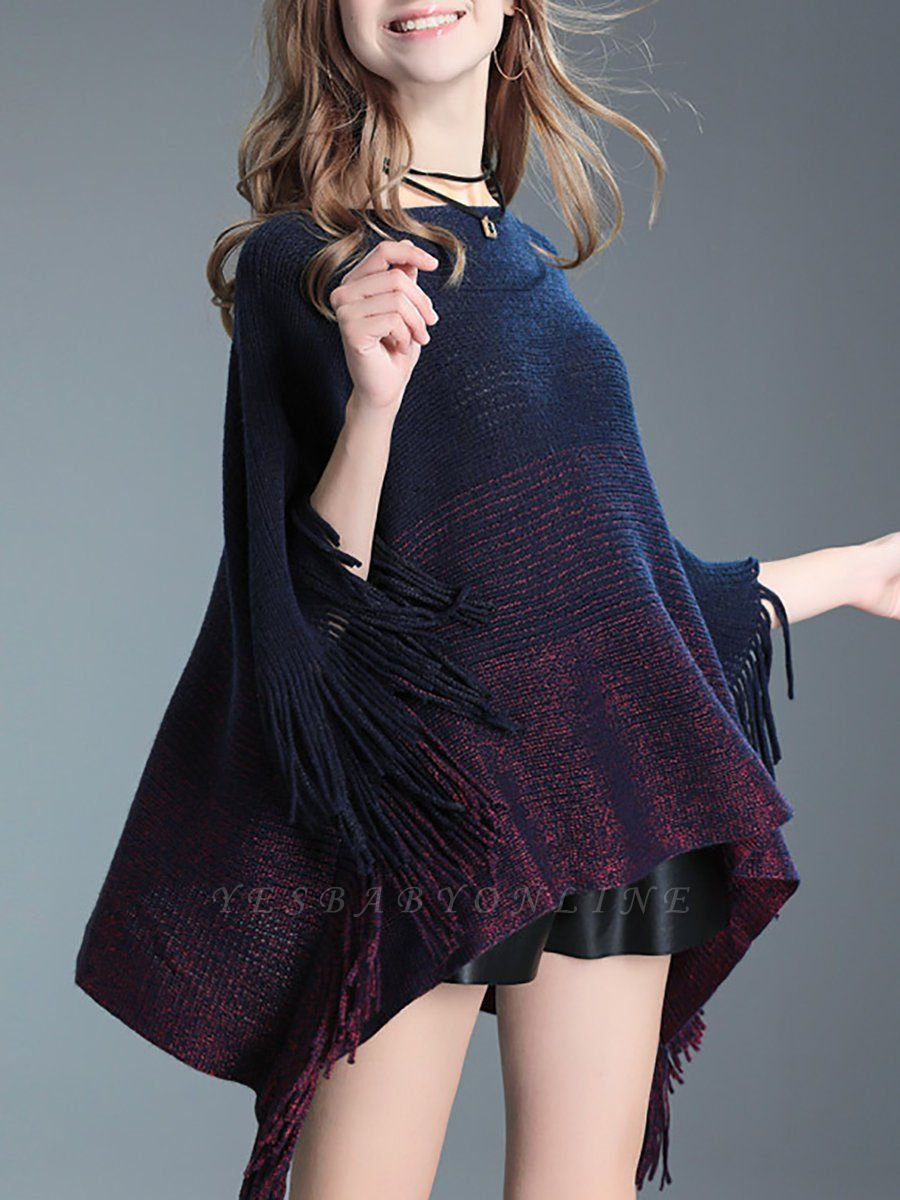 Fringed Batwing Casual Wool Sweater