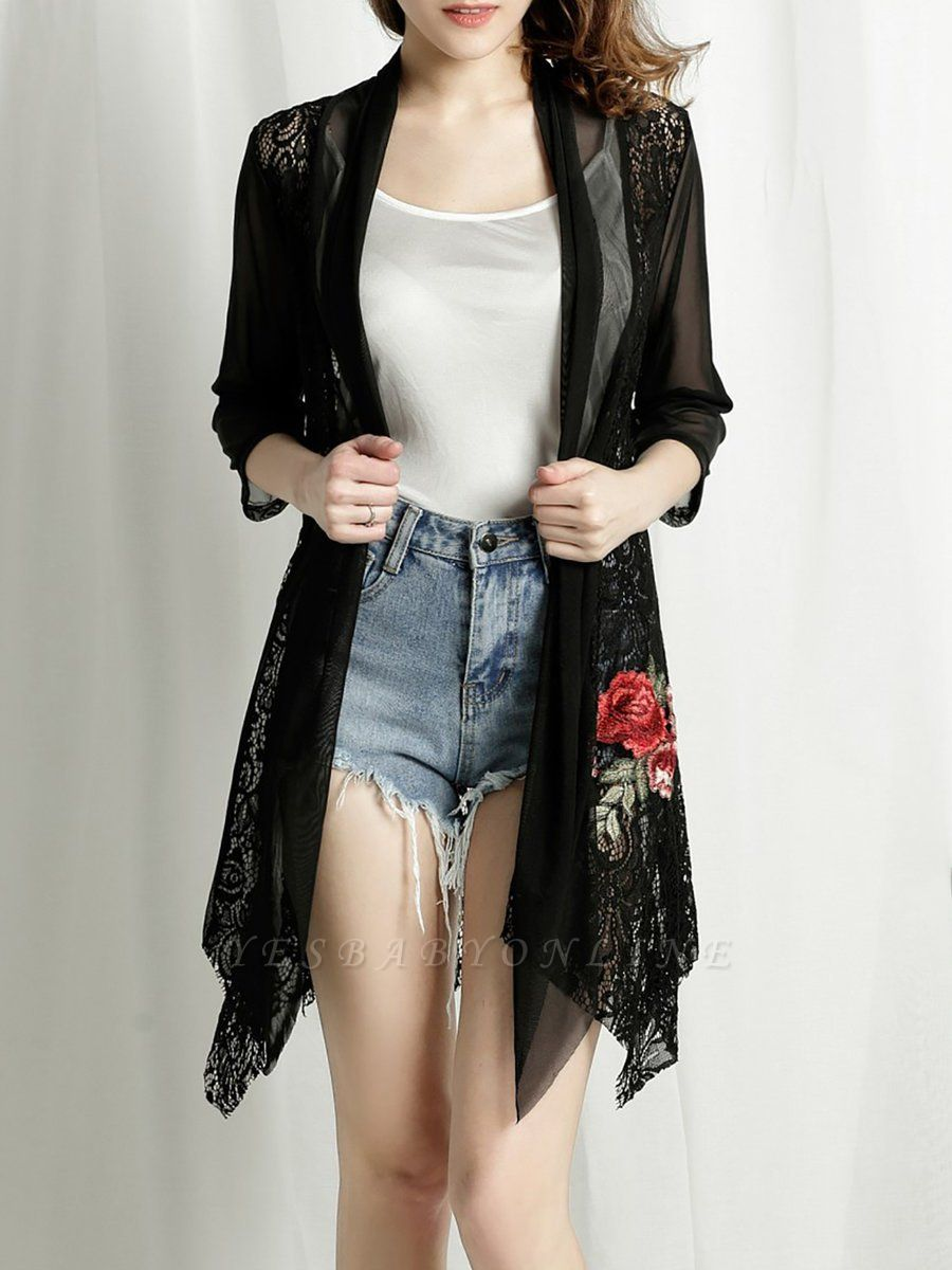 Floral Embroidered Casual 3/4 Sleeve Asymmetric Coat