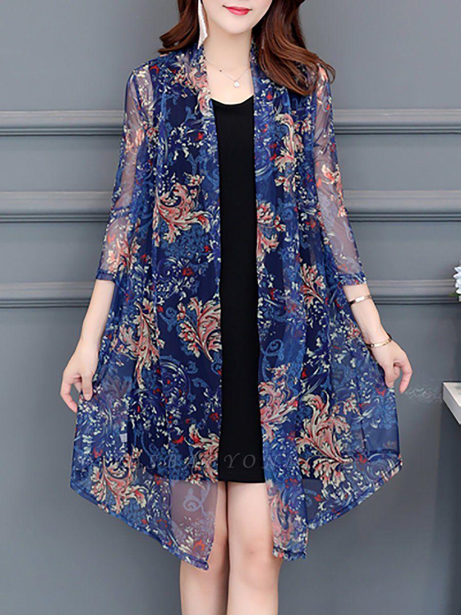 3/4 Sleeve Casual Printed Floral Chiffon Coat