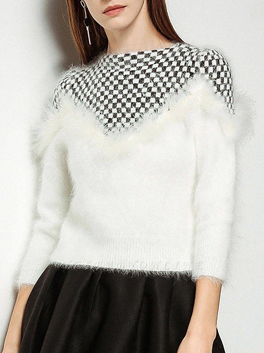 Long Sleeve Checkered/Plaid Sheath Casual Sweater