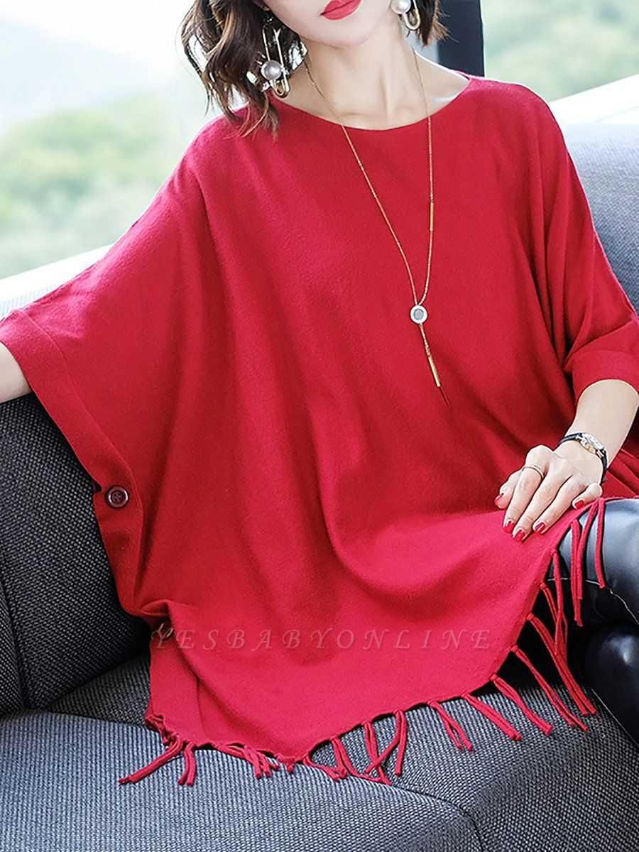 Casual Batwing Crew Neck Fringed Solid Sweater