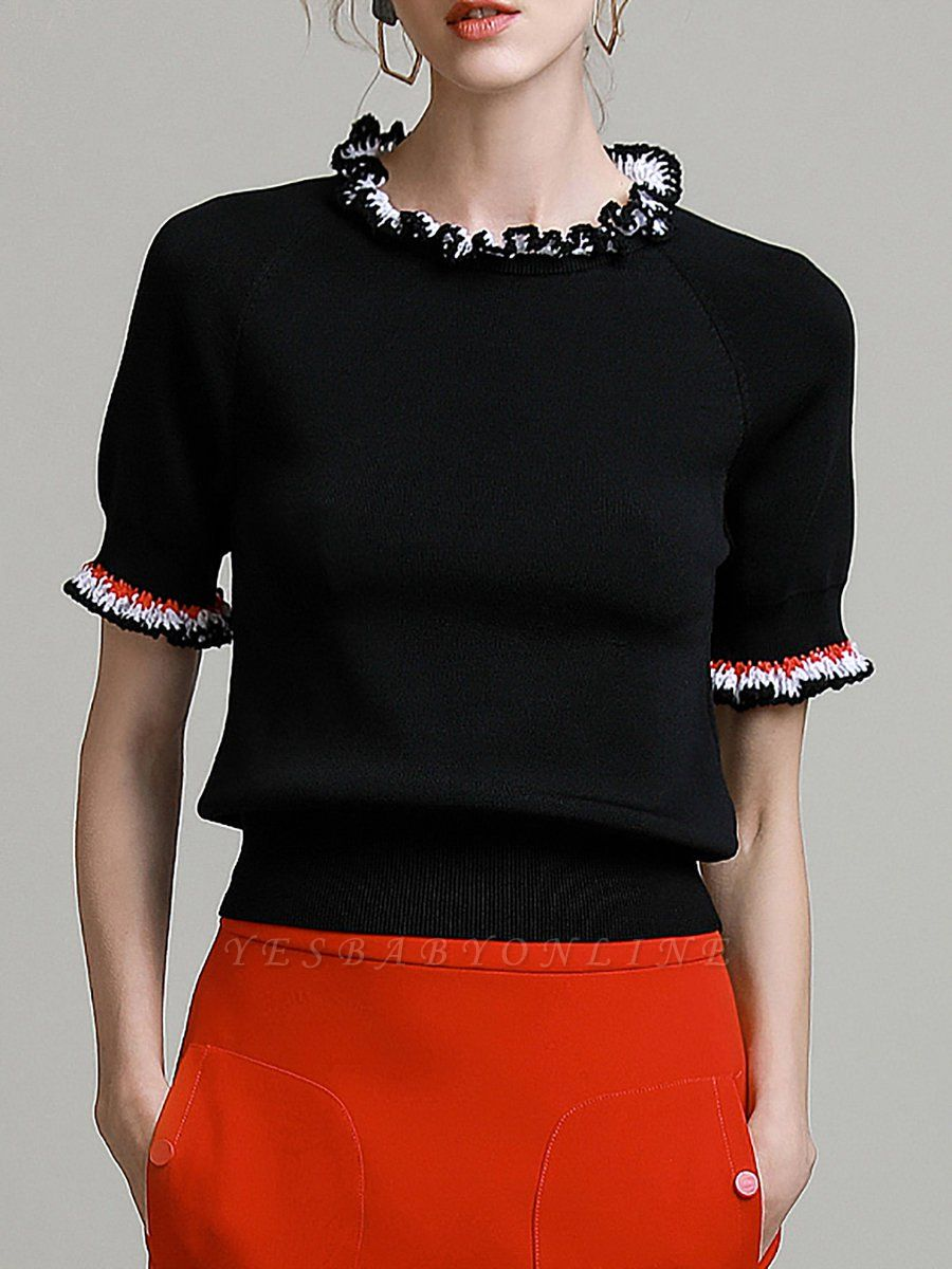 Black Knitted Casual Knitted Crew Neck Ruffled Sweater