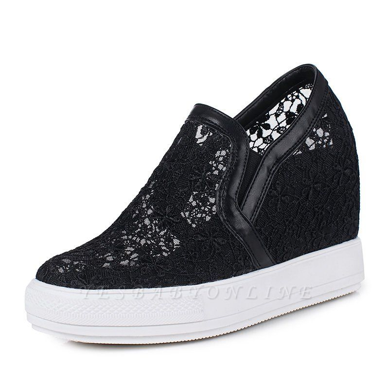 Wedge Heel Embroidery Round Toe Mesh Fabric Loafers
