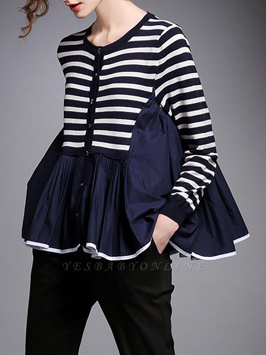 Royal blue Striped Long Sleeve Shift Sweater