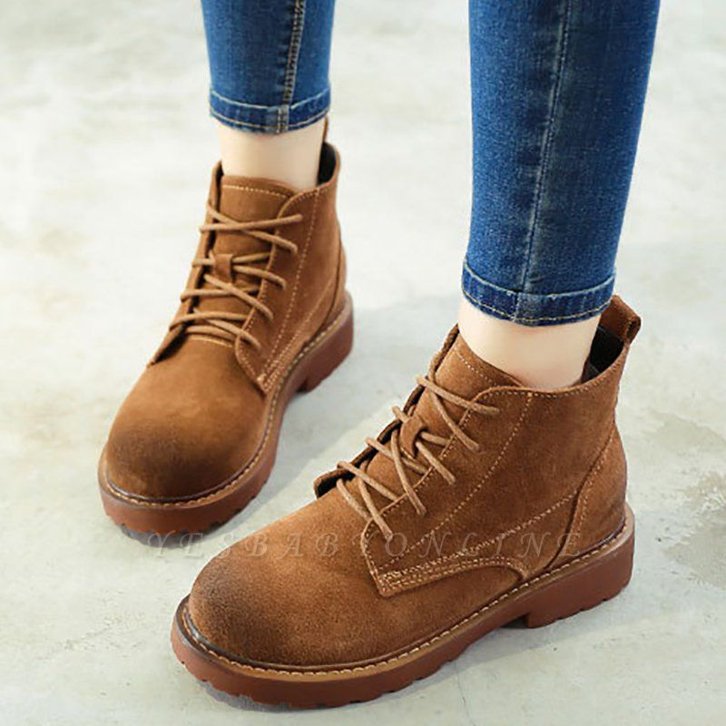 Grind Cowhide Leather Round Toe Lace-up Boots