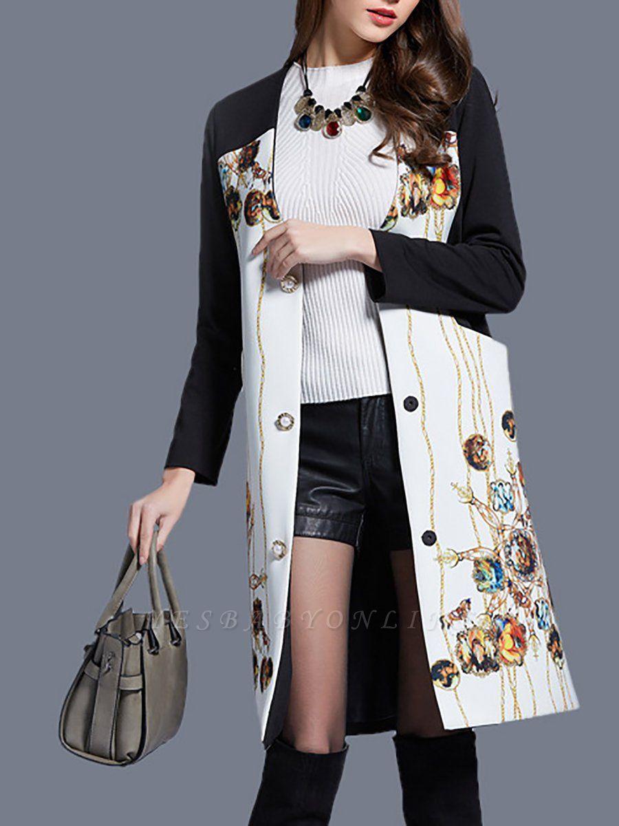 White Buttoned Elegant Printed Coat