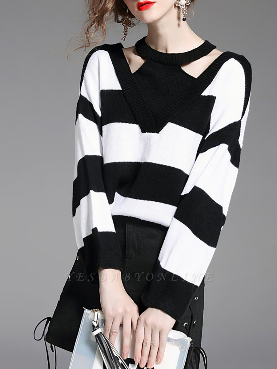 Black-white Crew Neck Shift Long Sleeve Solid Sweater