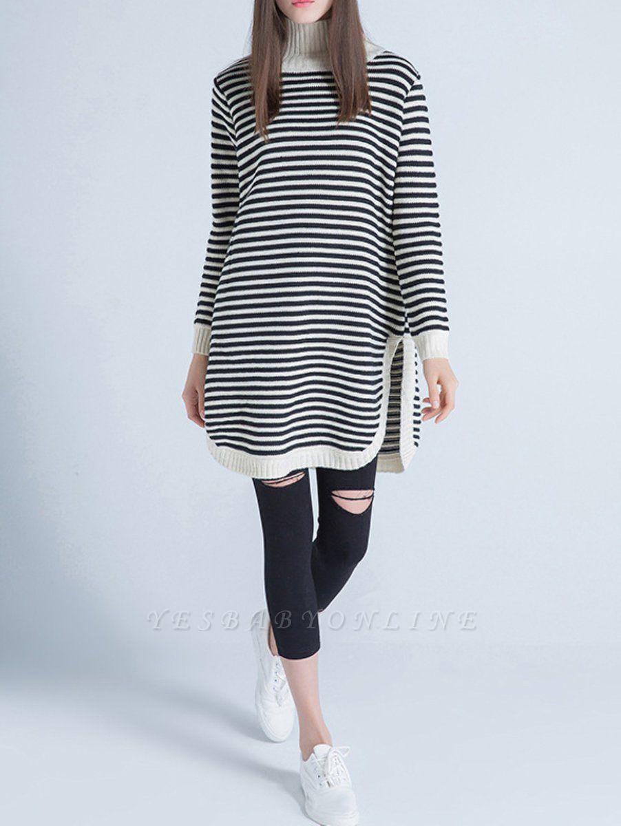 Beige Long Sleeve Turtleneck Stripes Sweater
