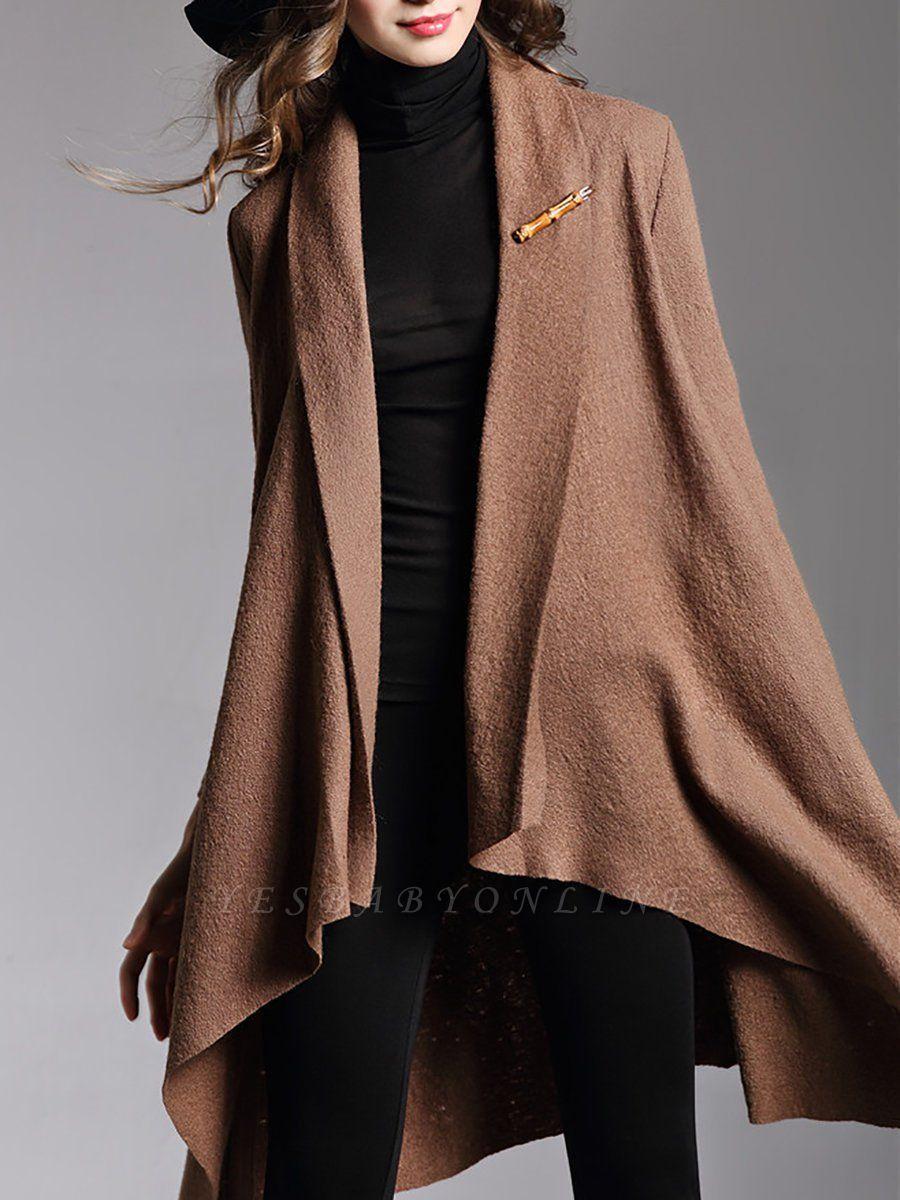 Asymmetric Long Sleeve Casual Coat