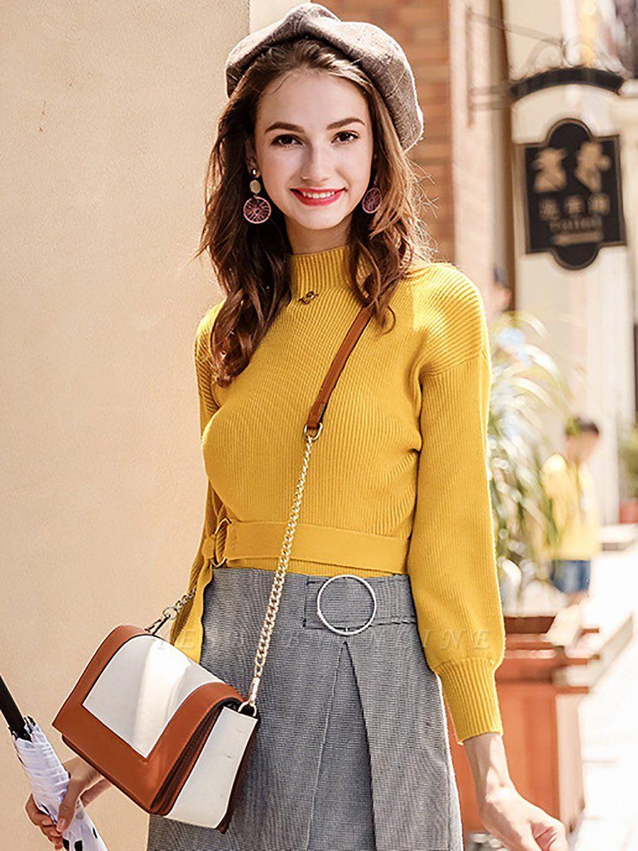Casual Paneled Turtleneck Long Sleeve Sweater
