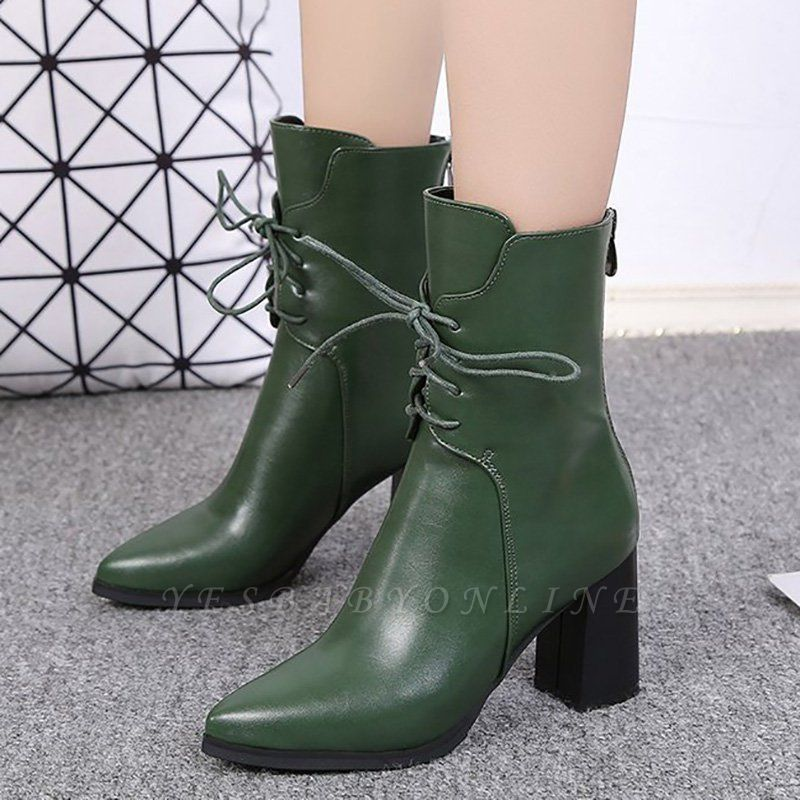 Lace-up Chunky Heel Daily Pointed Toe Elegant Boots