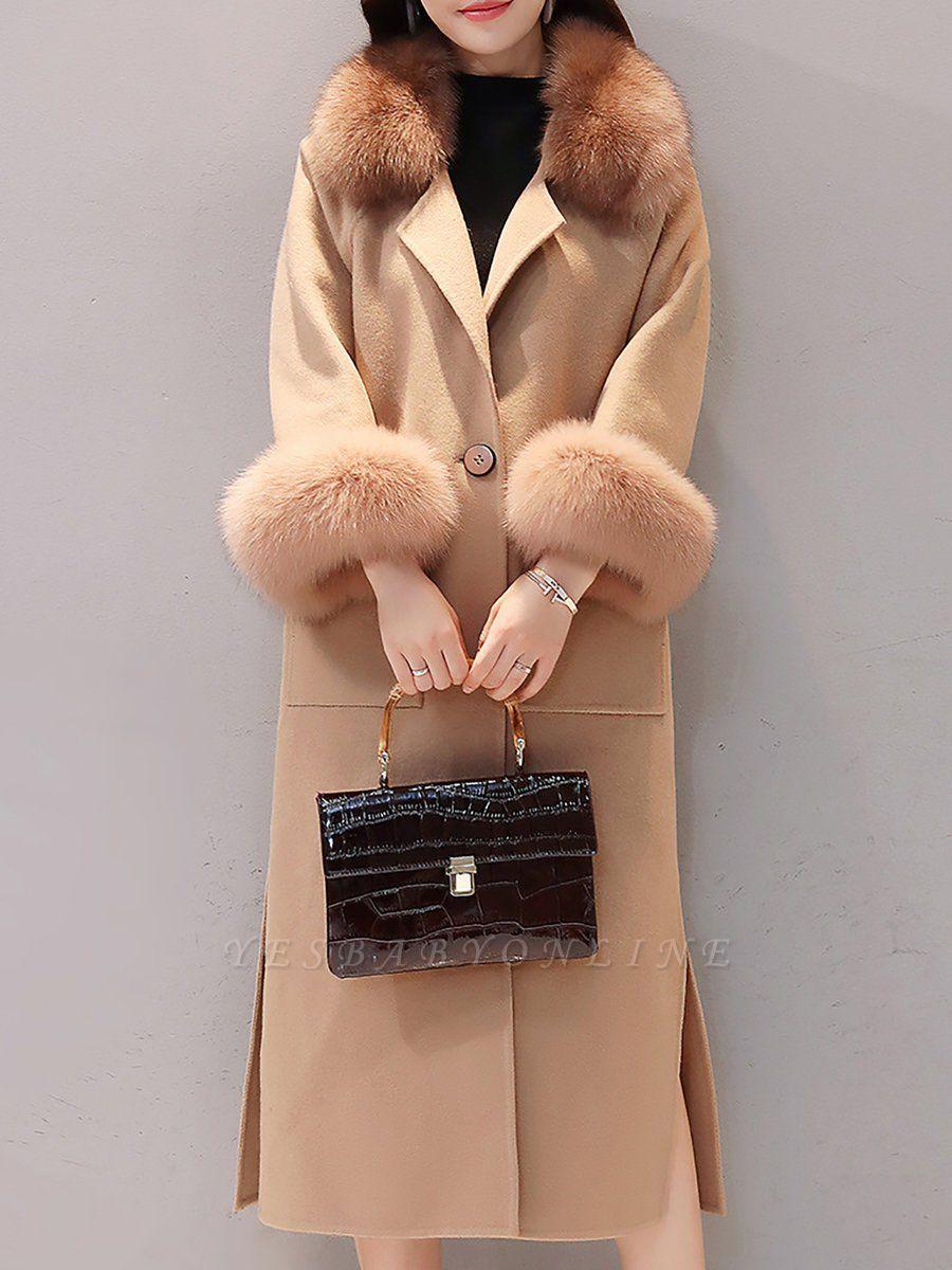 Long Sleeve Shawl Collar Paneled Pockets Slit Fluffy Coat