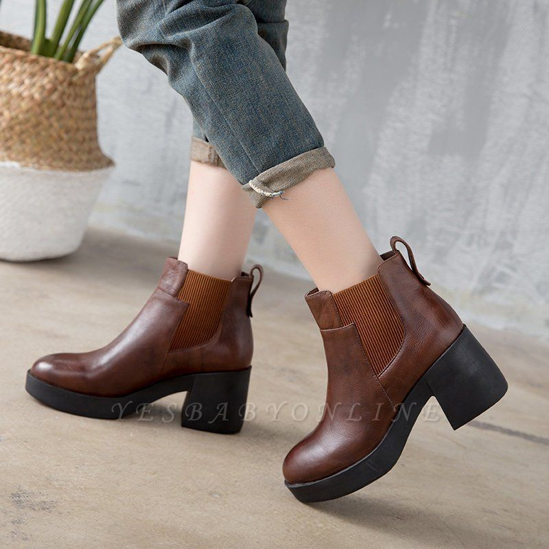 Cowhide Leather Platform Boot