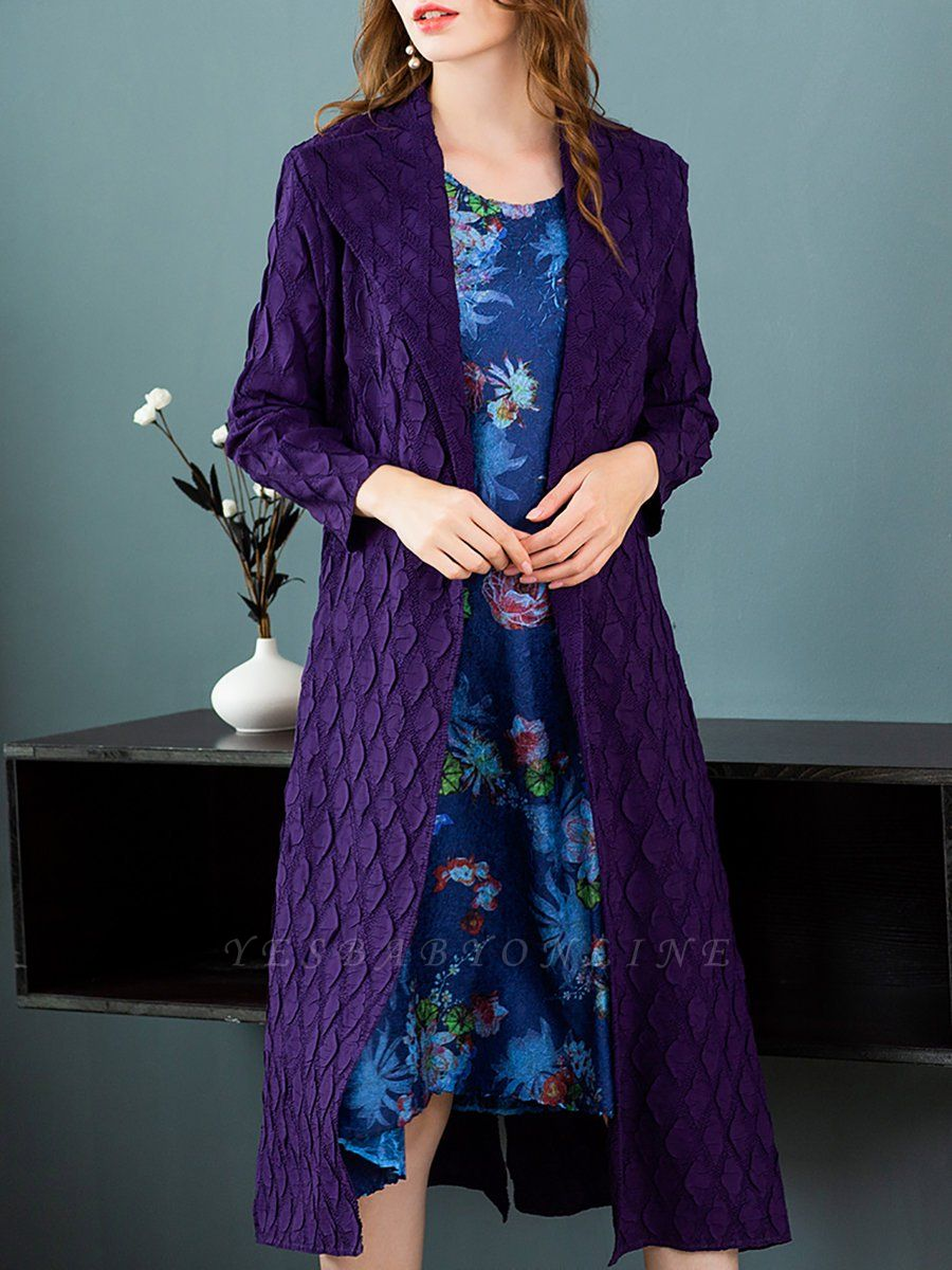 Purple Casual Embossed Long Sleeve Solid Shawl Collar Shift Slit Coat