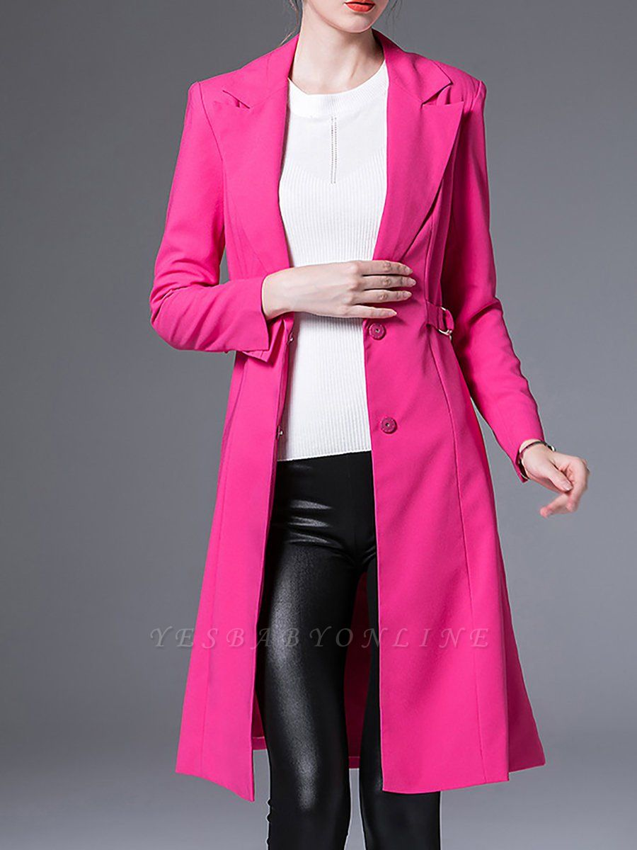 Rose Lapel Work A-line Buttoned Solid Long Sleeve Coat