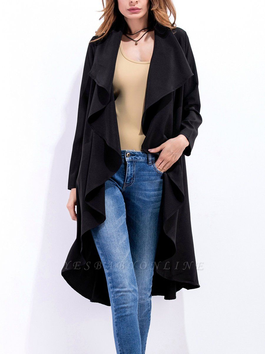 Work Long Sleeve Asymmetric Casual Coat