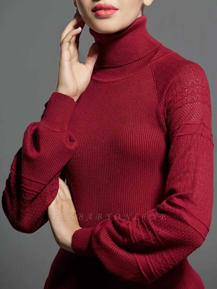 Casual Balloon Sleeve Knitted Sweater